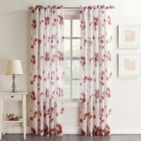 Keiko Floral 84-inch Rod Pocket Sheer Window Curtain Panel in Coral
