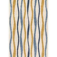 Loloi Rugs Enchant Multicolor Stripes 7'7 Square Rug in Ivory