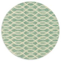Loloi Rugs Venice Beach Waves 7'10 Round Rug in Turqouise/Ivory