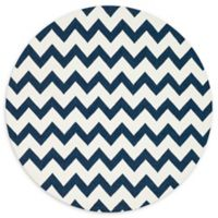 Loloi Rugs Venice Beach Chevron Indoor/Outdoor 7'10 Round Area Rug in Ivory/Ink