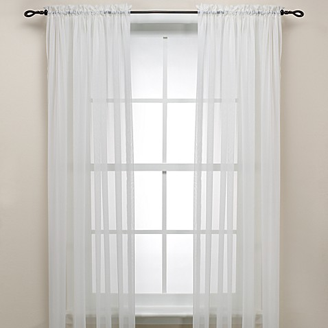 Eggshell Rod Pocket Sheer Window Curtain Panel Bed Bath
