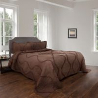 Nottingham Home Curved Ruffle King Quilt Set in Brown