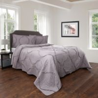 Nottingham Home Curved Ruffle Twin Quilt Set in Silver