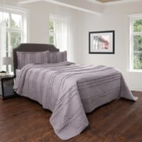 Nottingham Home Striped Ruffle King Quilt Set in Silver
