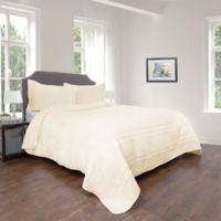 Nottingham Home Striped Ruffle Twin Quilt Set in Ivory