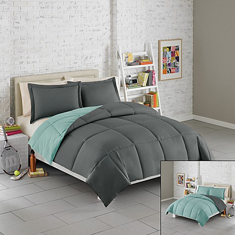 Solid Reversible Microfiber Twin Comforter Set Teal Grey