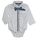 Sovereign Code™ Size 0-3M Geo Print Bodysuit with Chambray Bow Tie in White