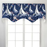 Nautical Sail Scallop 50-Inch Rod Pocket Window Valance in Navy
