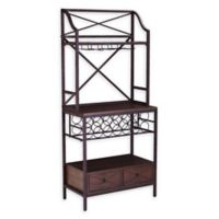 Southern Enterprises Augustine Bakers Rack in Antique Brown wtih Dark Pine