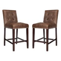 Safavieh Faux Leather Upholstered Stools in Brown (Set of 2)