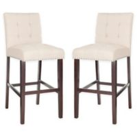 Safavieh Linen Upholstered Barstools in Beige (Set of 2)