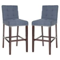 Safavieh Linen Upholstered Stools in Navy (Set of 2)