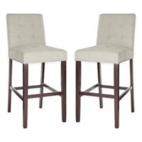 Safavieh Linen Upholstered Stools in Light Grey (Set of 2)