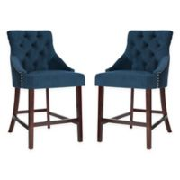 Safavieh Velvet Upholstered Barstools in Navy (Set of 2)