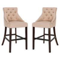 Safavieh Linen Upholstered Stools in Beige (Set of 2)