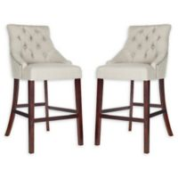 Safavieh Linen Upholstered Barstools in Light Grey (Set of 2)