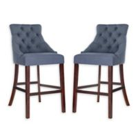 Safavieh Linen Upholstered Barstools in Navy (Set of 2)