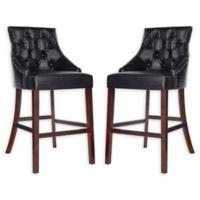 Safavieh Faux Leather Upholstered Stools in Black (Set of 2)