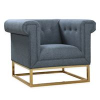 Chic Home Linen Upholstered Chair in Blue