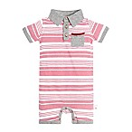 Burts Bee's Baby® Size 6-9M Striped Faux Twill Shortall in Red