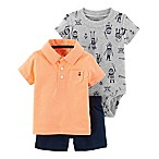carter's® Size 6M 3-Piece Polo Shirt, Bodysuit, and Short Set in Peach