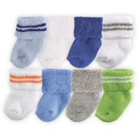 BabyVision® Luvable Friends® Size 0-6M 8-Pack Newborn Socks in Blue