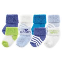 "BabyVision® Luvable Friends® Size 0-3M 8-Pack ""I Love Daddy"" Socks in Blue"