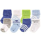 "Luvable Friends® Size 0-3M 8-Pack ""I Love Mommy"" Socks in Blue"
