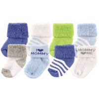 "BabyVision® Luvable Friends® Size 0-3M 8-Pack ""I Love Mommy"" Socks in Blue"