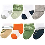 Luvable Friends® Size 0-6M 8-Pack Camo Socks in Green