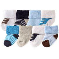 Luvable Friends™ Newborn 8-Pack Stripe and Shoe Pattern Socks in Blue