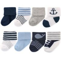 Luvable Friends® Size 6-12M 8-Pack Basic Cuff Socks in Nautical Blue
