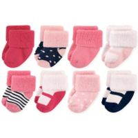 Luvable Friends® Size 6-12M 8-Pack Basic Cuff Socks in Navy