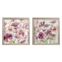 Zhejiang Wadou Purple Floral 15-Inch Square Wall Art (Set of 2)