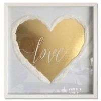 Haus of Arte Love Always 20-Inch Square Framed Wall Art in White/Gold