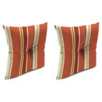 """Jordan Manufacturing Heatwave Stripe 16"""" Tufted Throw Pillows in Orange/Multi (Set of 2)"""