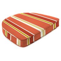 Jordan Manufacturing Heatwave Stripe Outdoor Contoured Boxed Seat Cushion in Orange/Multi