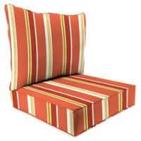 Jordan Manufacturing Heatwave Stripe 2-Piece Outdoor Pillow Back Chair Cushion Set in Orange