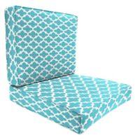 "Jordan Manufacturing Fulton 2-Piece Outdoor 46"" Deep Seat Chair Cushion in Ocean"