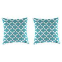 Jordan Manufacturing Floral Print 20-Inch Square Throw Pillows in Ocean (Set of 2)