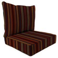 Stripe 24-Inch x 24-Inch 2-Piece Deep Seat Chair Cushion in Sunbrella® Cultivate Tandoori