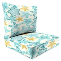 Print 24-Inch Deep Seat Chair Cushion in Seabiscuit Turquoise