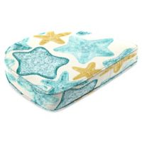 Print Contoured Boxed Seat Cushion in Seabiscuit Turquoise