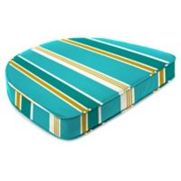 Stripe Outdoor Contoured Boxed Seat Cushion in Turquoise