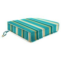 Stripe 21.5-Inch Boxed Edge Chair Cushion in Turquoise