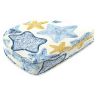 Print Contoured Boxed Seat Cushion in Seabiscuit Cobalt