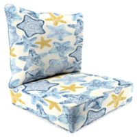 Print 24-Inch Deep Seat Chair Cushion in Coastal Blue