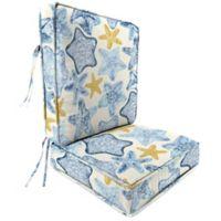 Jordan Manufacturing Seabiscuit Cobalt Deep Seat Attached Cushion in Blue/Multi