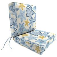 Jordan Manufacturing Seabiscuit Cobalt Boxed Edge Dining Chair Cushion in Blue/Multi