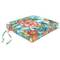 Jordan Manufacturing 18-Inch Outdoor Boxed Edge Seat Cushion in Blue/Multi